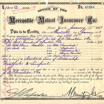 Insurance certificate, dated January 17, 1878, for flour shipped from New York to Liverpool, England